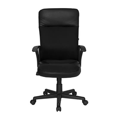 Aria I High-Back Black Leather Chair