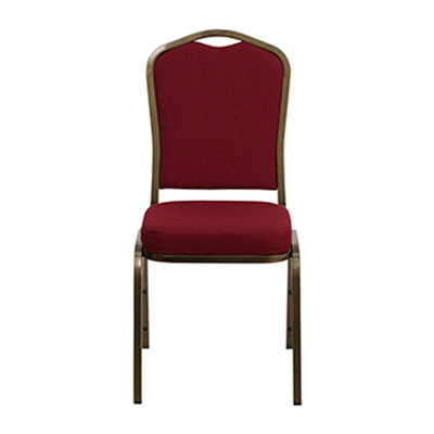 Crown-Back Burgundy Fabric Chair
