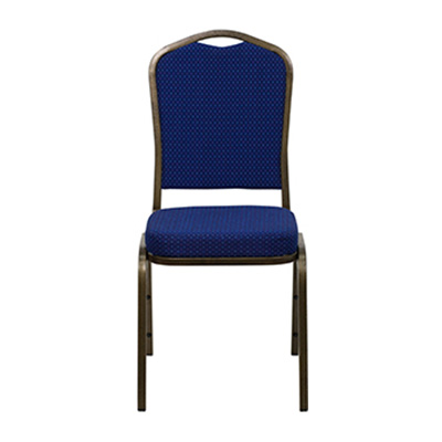 Crown-Back Blue Diamond Fabric Chair