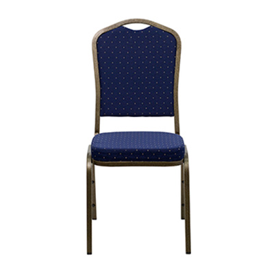 Crown-Back Blue Dot Fabric Chair