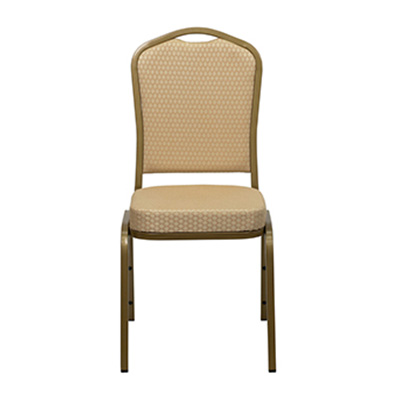 Crown-Back Beige Patterned Fabric Chair