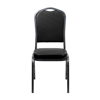 Crown-Back Black Vinyl Chair