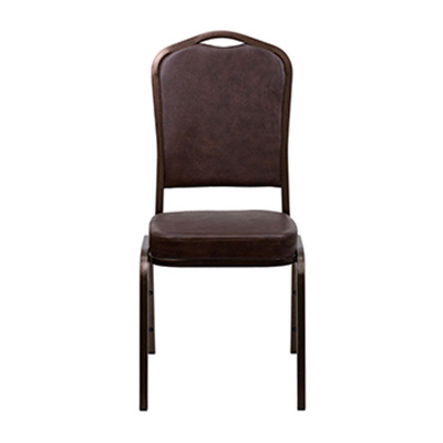 Crown-Back Brown Vinyl Chair