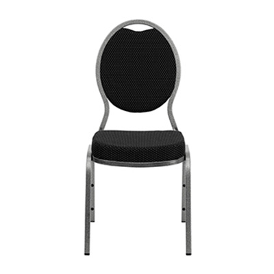 Teardrop-Back Black Fabric Chair