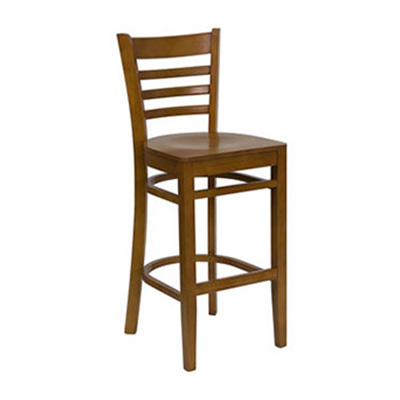 Cherry Finished Ladder Back Wooden Barstool