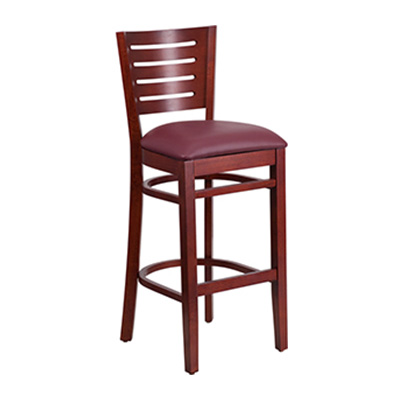 Slat Back Mahogany Wooden Barstool