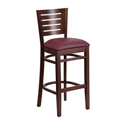 Slat Back Walnut Wooden Barstool