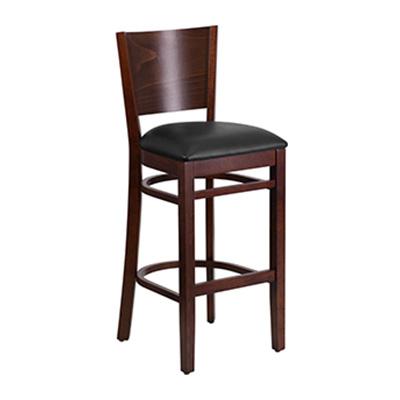 Solid Back Walnut Wooden Barstool