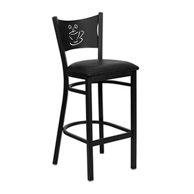 Black Coffee Back Metal Barstool