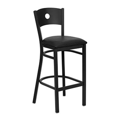 Black Circle Back Metal Barstool