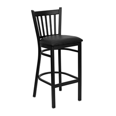 Black Vertical Back Metal Barstool