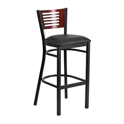 Black Decorative Slat Back Metal Barstool