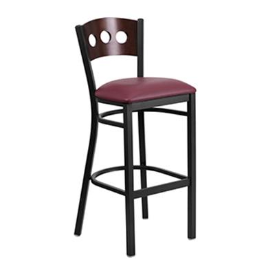 Black Decorative 3 Circle Back Metal Barstool