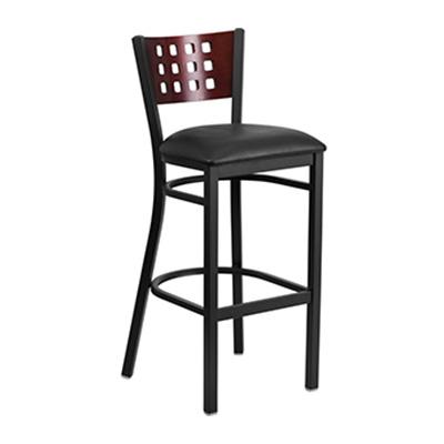 Black Decorative Cutout Back Metal Barstool