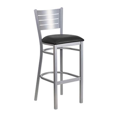 Silver Slat Back Metal Barstool
