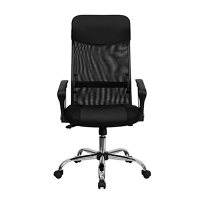 Aria II High-Back Black Leather And Mesh Task Chair