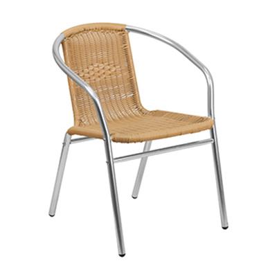 Beige Rattan Restaurant Stack Chair