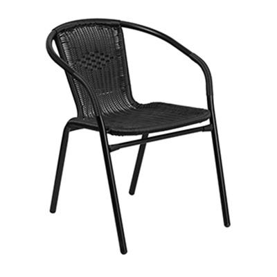 Black Rattan Restaurant Stack Chair