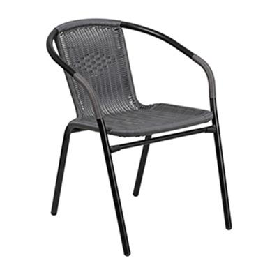 Gray Rattan Restaurant Stack Chair