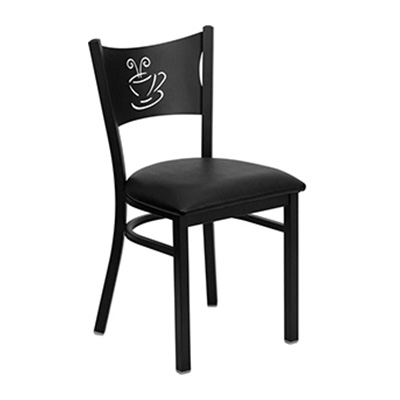 Black Coffee Back Metal Dining Chair