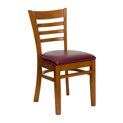 Cherry Finished Ladder Back Wooden Dining Chair