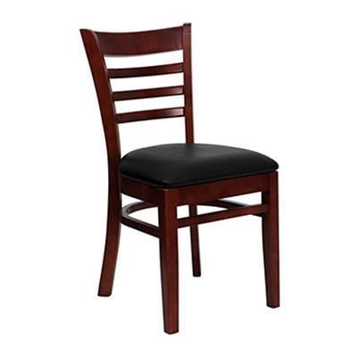 Mahogany Finished Ladder Back Wooden Dining Chair