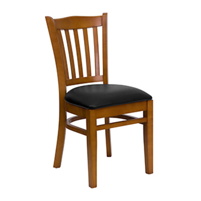 Cherry Finished Vertical Slat Back Wooden Dining Chair