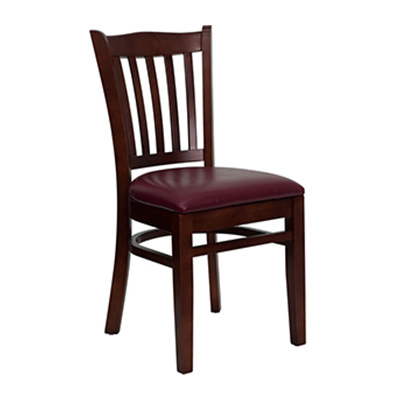Mahogany Finished Vertical Slat Back Wooden Dining Chair