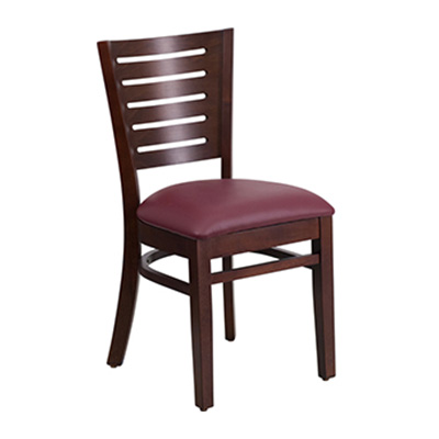 Slat Back Walnut Wooden Dining Chair