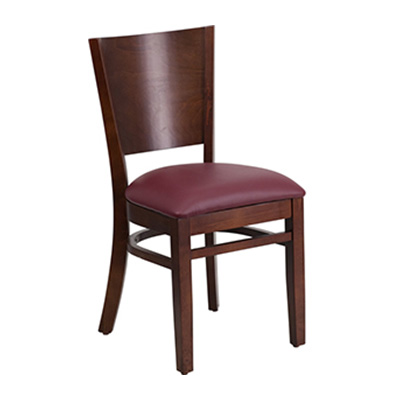 Solid Back Walnut Wooden Dining Chair
