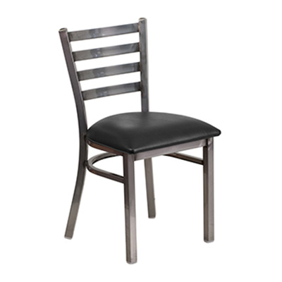 Clear Coated Ladder Back Metal Dining Chair