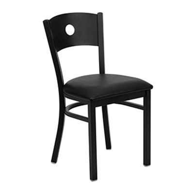 Black Circle Back Metal Dining Chair