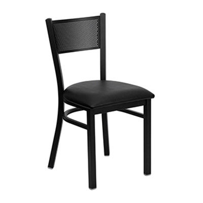 Black Grid Back Metal Dining Chair