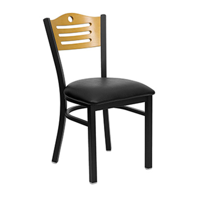 Black Slat Back Metal Dining Chair