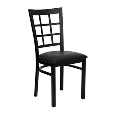 Black Window Back Metal Dining Chair