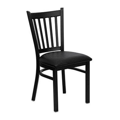 Black Vertical Back Metal Dining Chair