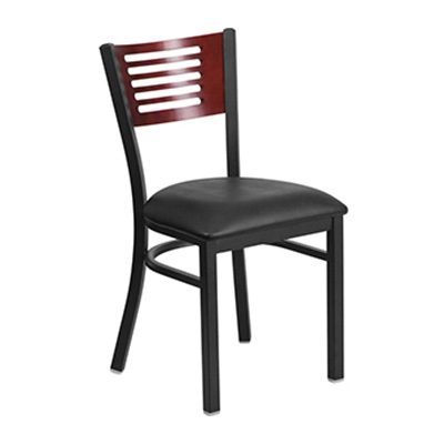 Black Decorative Slat Back Metal Dining Chair
