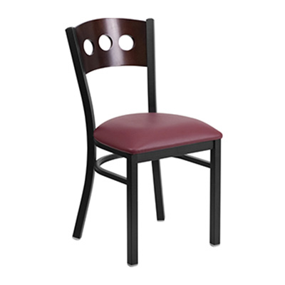 Black Decorative 3 Circle Back Metal Dining Chair