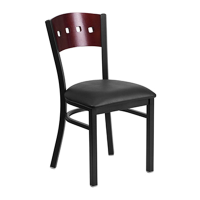 Black Decorative 4 Square Back Metal Dining Chair
