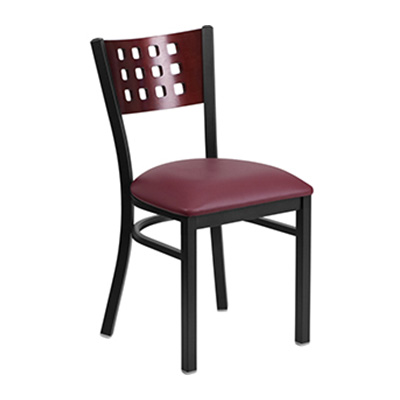 Black Decorative Cutout Back Metal Dining Chair