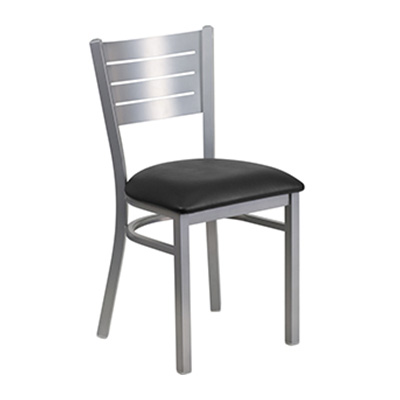 Silver Slat Back Metal Dining Chair