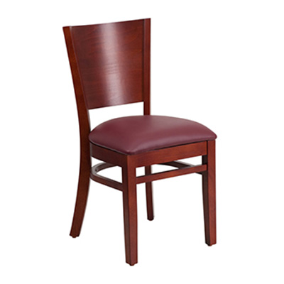 Solid Back Mahogany Wooden Dining Chair